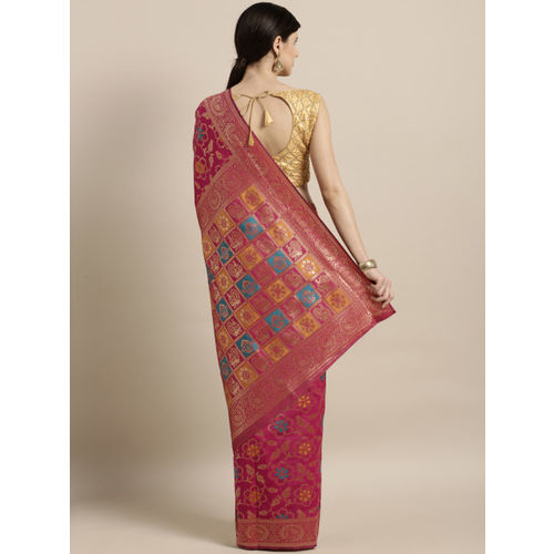Satrani Pink & Gold-Coloured Silk Blend Woven Design Banarasi Saree