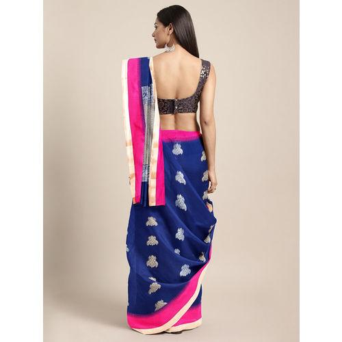 The Chennai Silks Navy Blue & Pink Silk Cotton Woven Design Kovai Saree