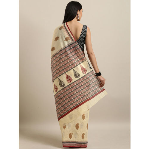 Saree Swarg Cream-Coloured Printed Cotton Blend Saree