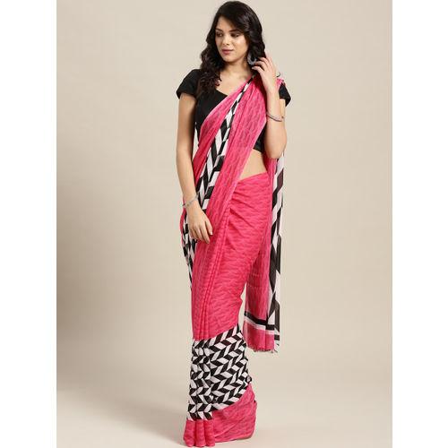 Ishin Pink & Black Printed Saree