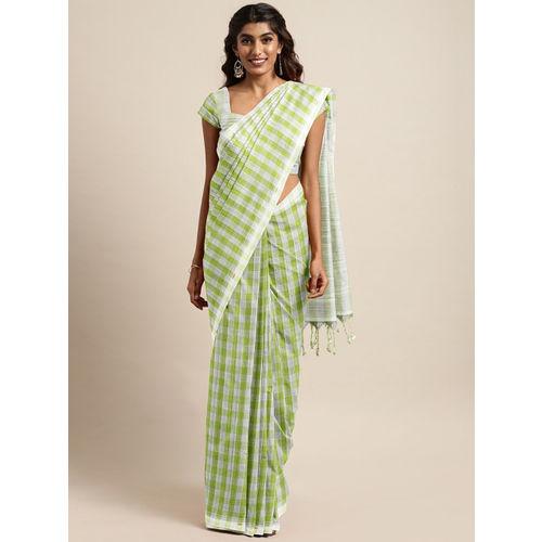 The Chennai Silks Lime Green & White Pure Cotton Woven Design Mangalagiri Saree