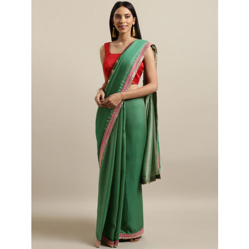 The Chennai Silks Classicate Green Solid Pure Crepe Saree