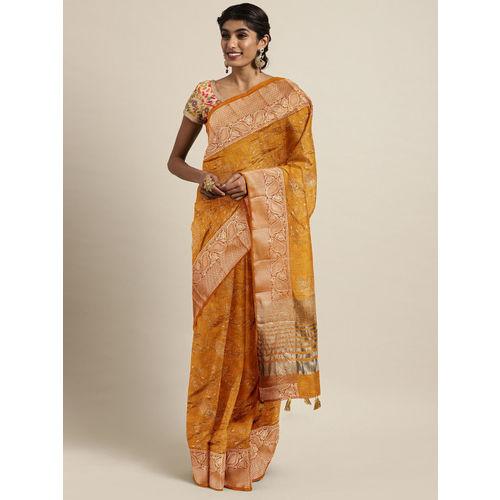 The Chennai Silks Classicate Mustard Jute Silk Embroidered Banarasi Saree