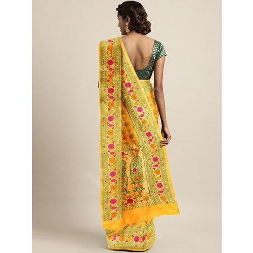The Chennai Silks Yellow & Green Silk Blend Woven Design Banarasi Saree
