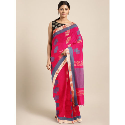 The Chennai Silks Magenta & Teal Blue Silk Cotton Woven Design Kovai Saree
