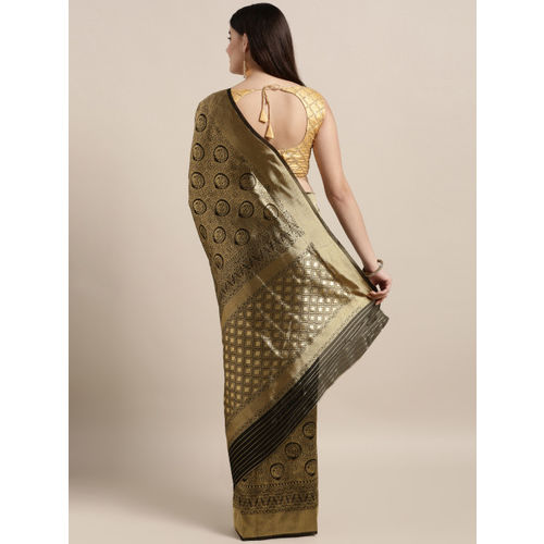 MOKSHA DESIGNS Black & Gold-Toned Pure Silk Woven Design Banarasi Saree