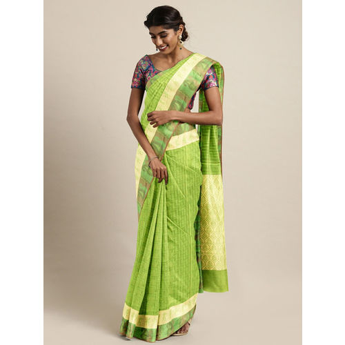 The Chennai Silks Fluorescent Green Woven Design Silk Cotton Saree