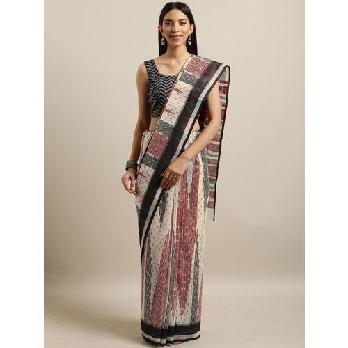 Saree Swarg Off-White & Maroon Cotton Blend Printed Saree