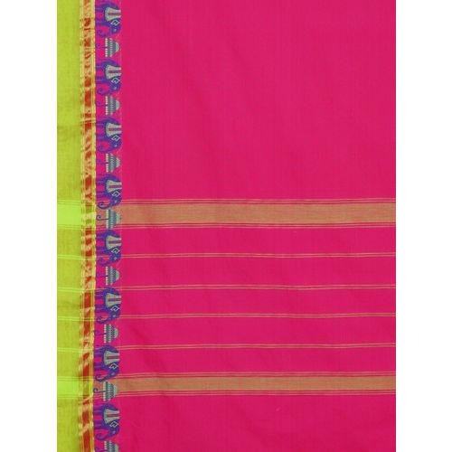 The Chennai Silks Magenta Pure Cotton Woven Design Chettinad Saree