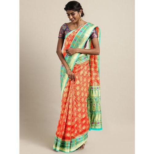 The Chennai Silks Red & Green Silk Blend Woven Design Banarasi Saree