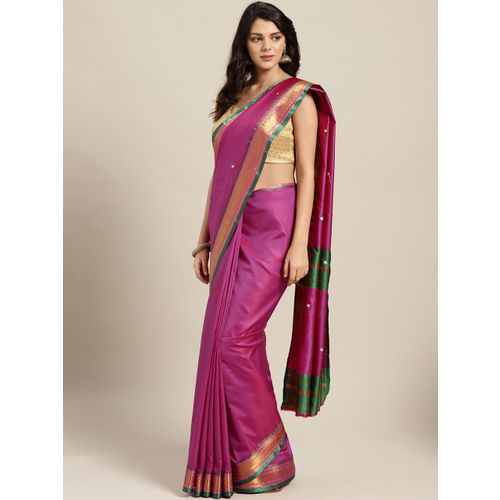 Ishin Pink & Golden Woven Design Mysore Silk Saree