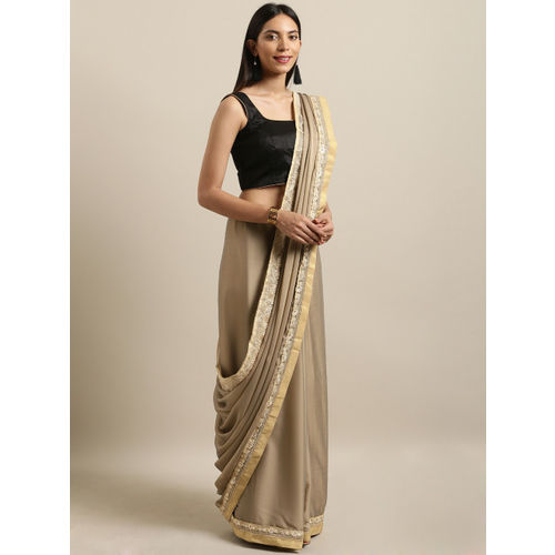 The Chennai Silks Grey Embellished Pure Crepe Saree