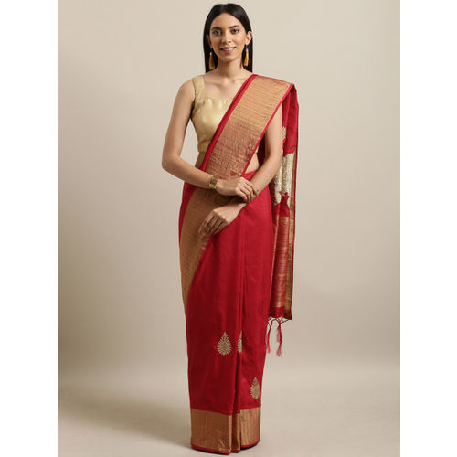 PACHE Red Cotton Silk Embroidered Saree