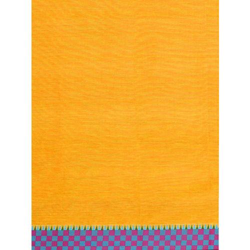 The Chennai Silks Yellow & Blue Solid Chettinad Cotton Saree
