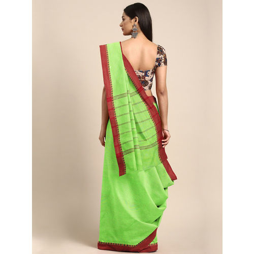 The Chennai Silks Green & Maroon Solid Chettinad Cotton Saree