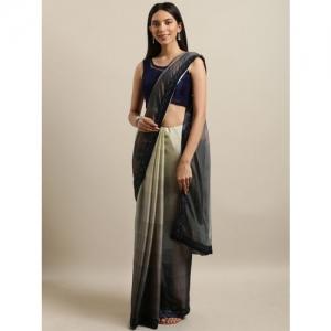 The Chennai Silks Green & Navy Blue Pure Chiffon Solid Saree