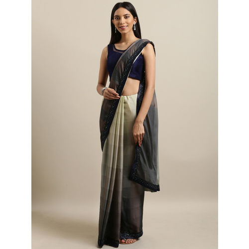 The Chennai Silks Green & Navy Blue Pure Chiffon Solid Saree