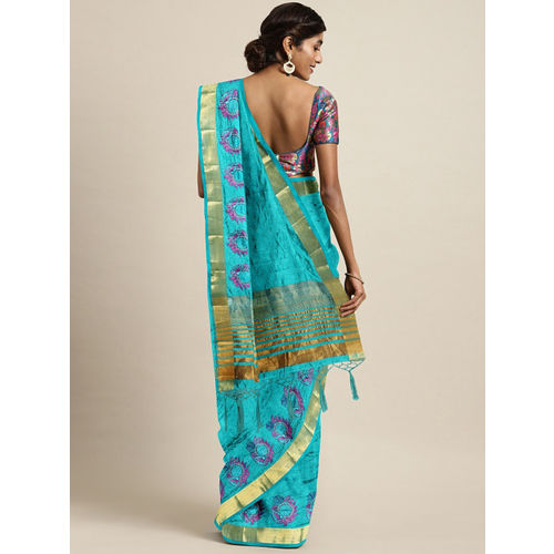 The Chennai Silks Blue Jute Silk Embroidered Banarasi Saree