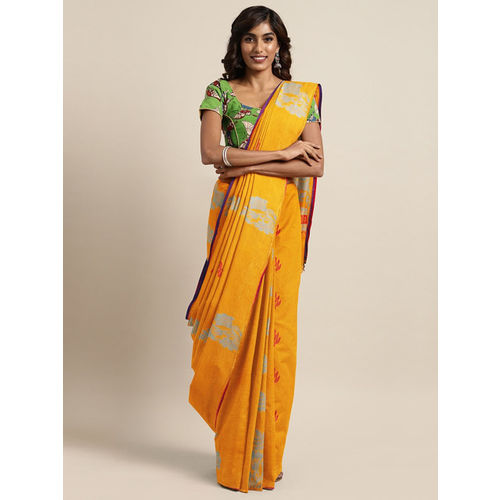 The Chennai Silks Classicate Mustard Orange Pure Cotton Woven Design Kovai Saree