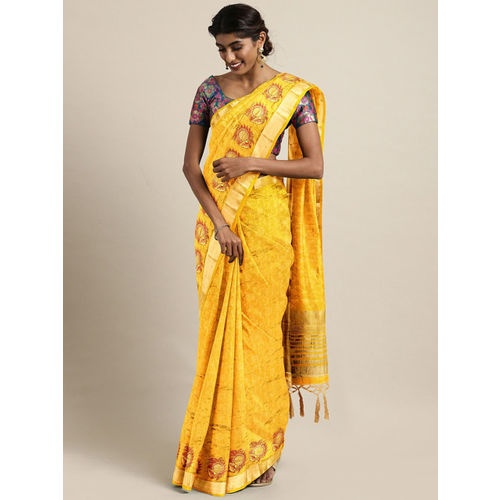 The Chennai Silks Yellow & Maroon Jute Silk Embroidered Banarasi Saree