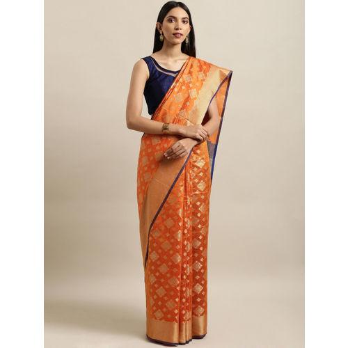 Saree Swarg Orange Silk Blend Woven Design Banarasi Saree
