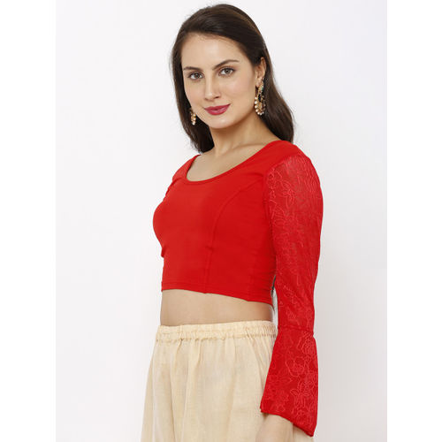 Salwar Studio Women Red Solid Cotton Lycra Stretchable Readymade Saree Blouse