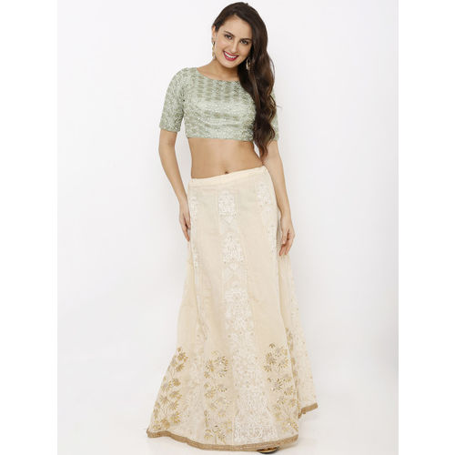 Salwar Studio Women Pastel Green All Over Floral Embroidered Net Readymade Padded Saree Blouse