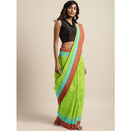 The Chennai Silks Green Pure Cotton Woven Design Chettinad Saree