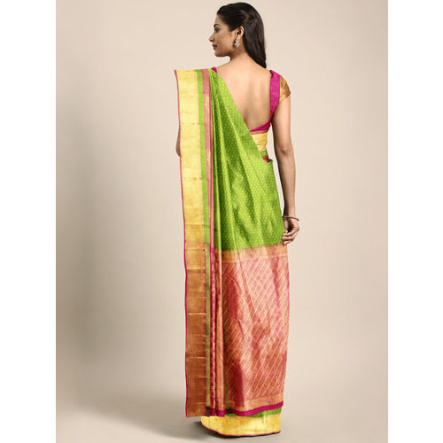 The Chennai Silks Green & Pink Pure Silk Woven Design Kanjeevaram Saree