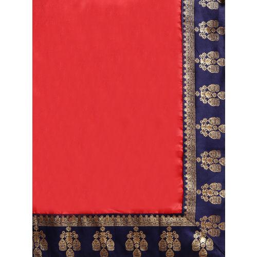 Ishin Red & Navy Blue Solid Saree