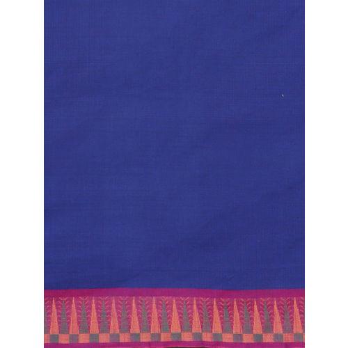 The Chennai Silks Navy Blue Pure Cotton Solid Chettinad Saree