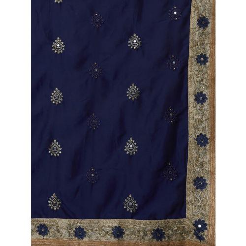 Mitera Navy Blue & Beige Poly Georgette Embroidered Saree