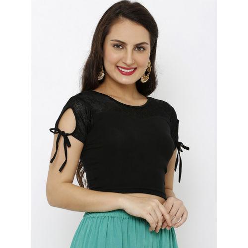 Salwar Studio Women Black Solid Nylon Stretchable Readymade Saree Blouse
