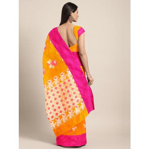 The Chennai Silks Mustard Yellow & Pink Silk Cotton Woven Design Saree