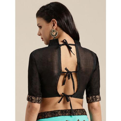 Saree mall Green & Black Embroidered Saree