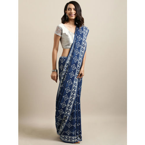 Mitera Blue & White Pure Cotton Printed Bagru Saree