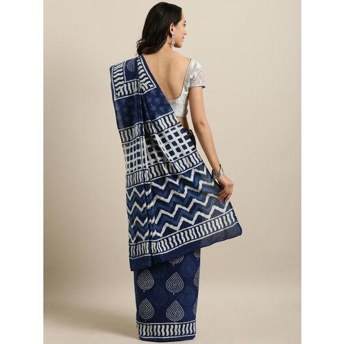 Mitera Navy Blue & White Pure Cotton Printed Bagru Saree