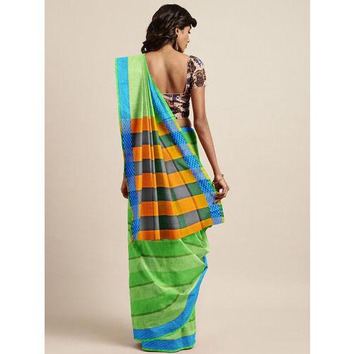 The Chennai Silks Green Pure Cotton Striped Chettinad Saree
