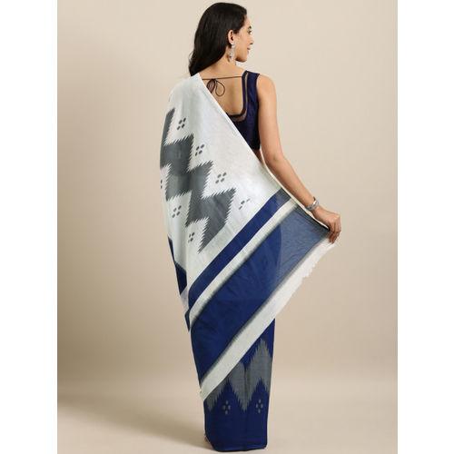 Mitera Navy Blue & White Pure Cotton Printed Ikat Saree