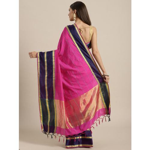 Rajesh Silk Mills Pink Checked Saree