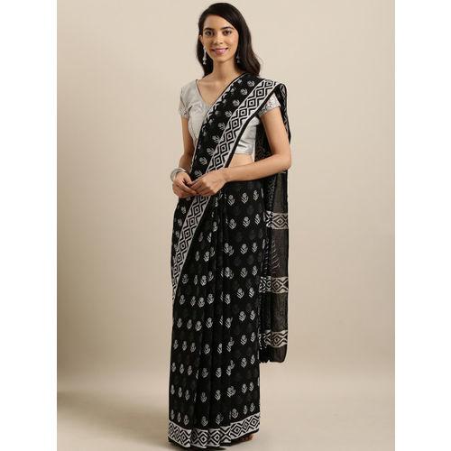Mitera Black & White Pure Cotton Printed Procian Saree