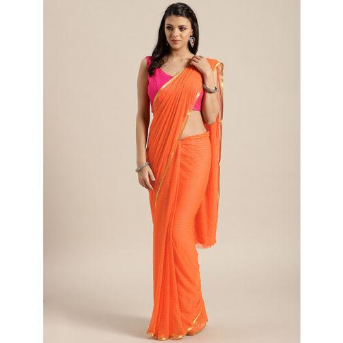 Saree mall Orange Embellished Saree