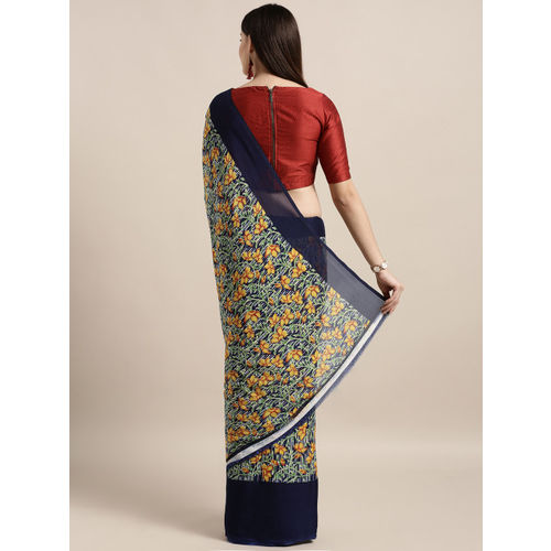 MOKSHA DESIGNS Navy Blue & Yellow Poly Crepe Printed Saree
