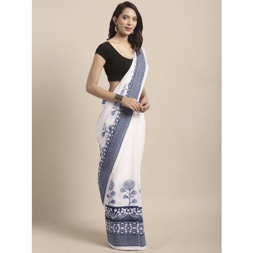 Mitera Women White & Navy Blue Pure Cotton Printed Saree