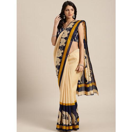 Saree mall Beige & Navy Blue Solid Bhagalpuri Saree