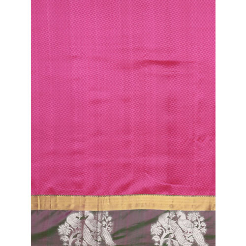 The Chennai Silks Pink & Green Pure Silk Woven Design Kanjeevaram Saree