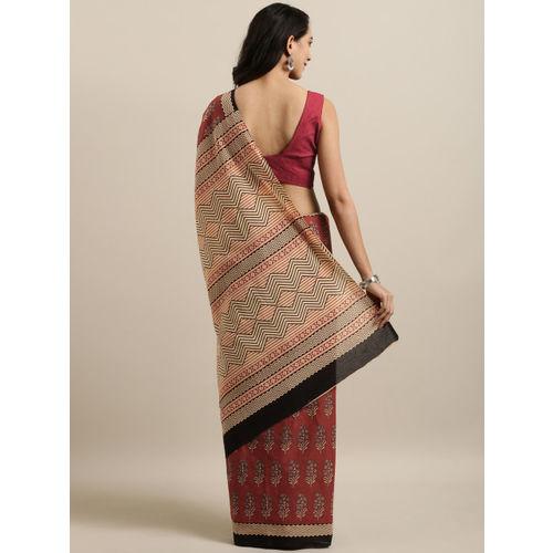 Mitera Brown & Beige Pure Cotton Procian Printed Saree