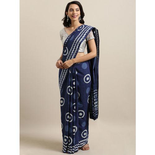 Mitera Navy Blue & Off-White Pure Cotton Printed Bagru Saree