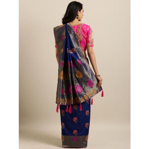 Kvsfab Navy Blue Woven Design Silk Blend Saree