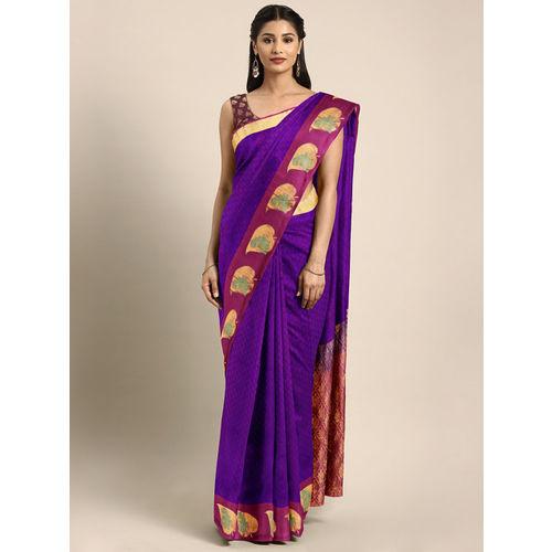 The Chennai Silks Violet & Burgundy Pure Silk Woven Design Kanjeevaram Saree